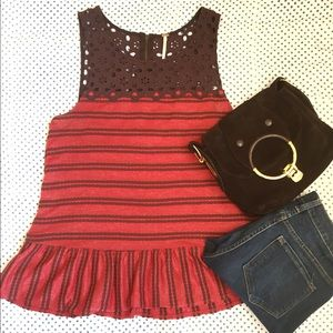Free People red & brown tunic tank lace detail